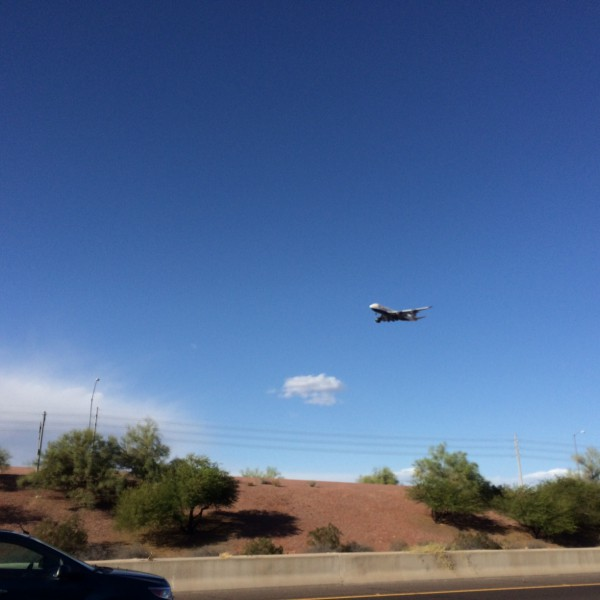 Very low British Airways 747 coming in over Tempe Town Lake.